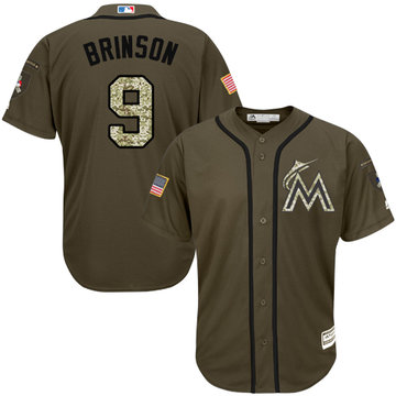 Marlins #9 Lewis Brinson Green Salute to Service Stitched Youth Baseball Jersey