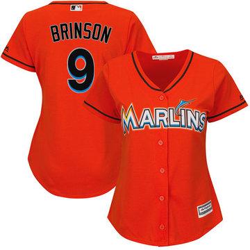 Marlins #9 Lewis Brinson Orange Alternate Women's Stitched Baseball Jersey