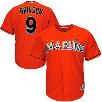 Marlins #9 Lewis Brinson Orange Cool Base Stitched Youth Baseball Jersey