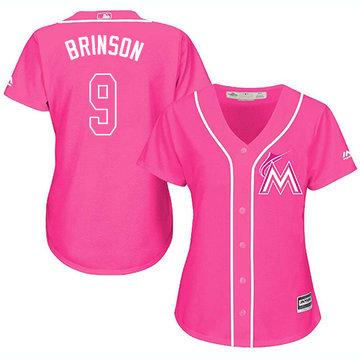 Marlins #9 Lewis Brinson Pink Fashion Women's Stitched Baseball Jersey