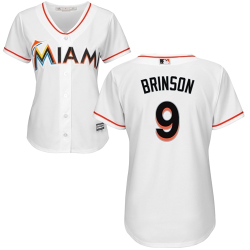 Marlins #9 Lewis Brinson White Home Women's Stitched Baseball Jersey