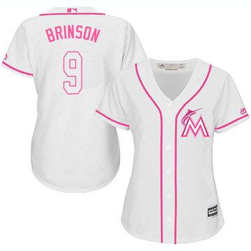 Marlins #9 Lewis Brinson White Pink Fashion Women's Stitched Baseball Jersey
