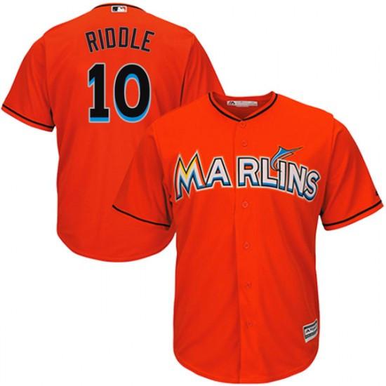 Marlins 10 JT Riddle Orange Cool Base Jersey