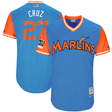 Marlins 27 Giancarlo Stanton Cruz Light Blue 2018 Players' Weekend Authentic Team Jersey