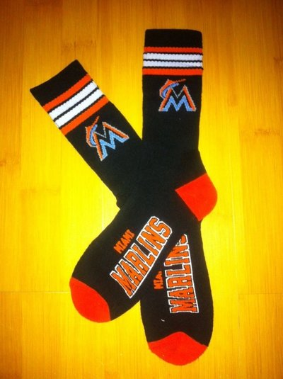 Marlins Team Logo Black Blue MLB Socks