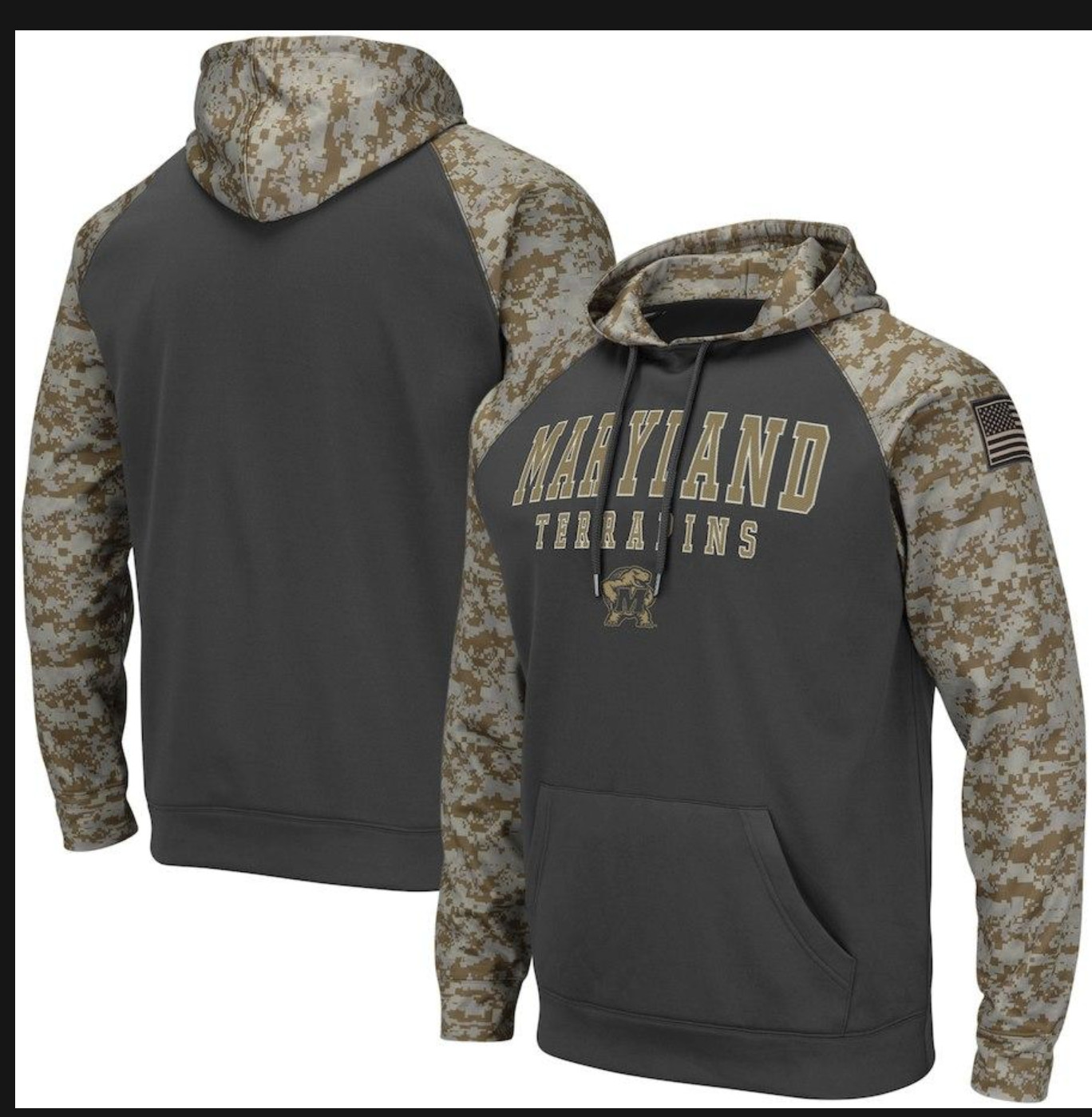Maryland Terrapins Gray Camo Men's Pullover Hoodie
