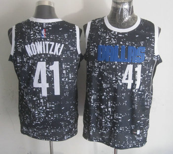 Mavericks 41 Dirk Nowitzki Black City Luminous Jersey