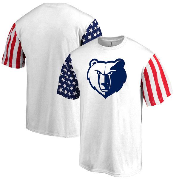 Memphis Grizzlies Fanatics Branded Stars & Stripes T-Shirt White
