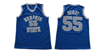 Memphis Tigers 55 Lorenzen Wright Blue College Basketball Jersey