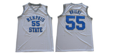 Memphis Tigers 55 Lorenzen Wright White College Basketball Jersey
