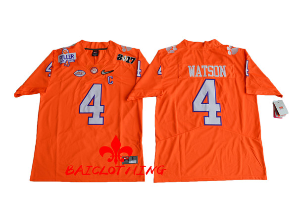 Men's 2017 Clemson Tigers #4 Deshaun Watson Orange Jersey