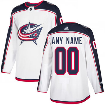 Men's Adidas Blue Jackets Personalized Authentic White Road NHL Jersey
