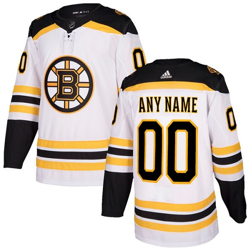 Men's Adidas Bruins Personalized Authentic White Road NHL Jersey