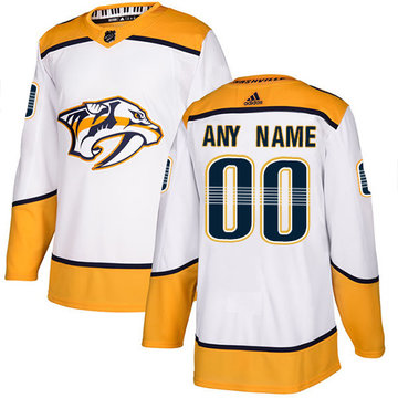 Men's Adidas Predators Personalized Authentic White Road NHL Jersey