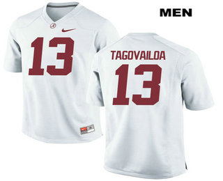 Men's Alabama Crimson Tide #13 Tua Tagovailoa White Stitched NCAA 2017 Nike College Football Jersey