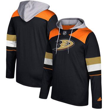 Men's Anaheim Ducks Adidas Black Silver Jersey Pullover Hoodie