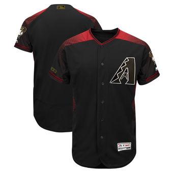 Men's Arizona Diamondbacks Majestic Black 2018 Memorial Day Authentic Collection Flex Base Team Custom Jersey