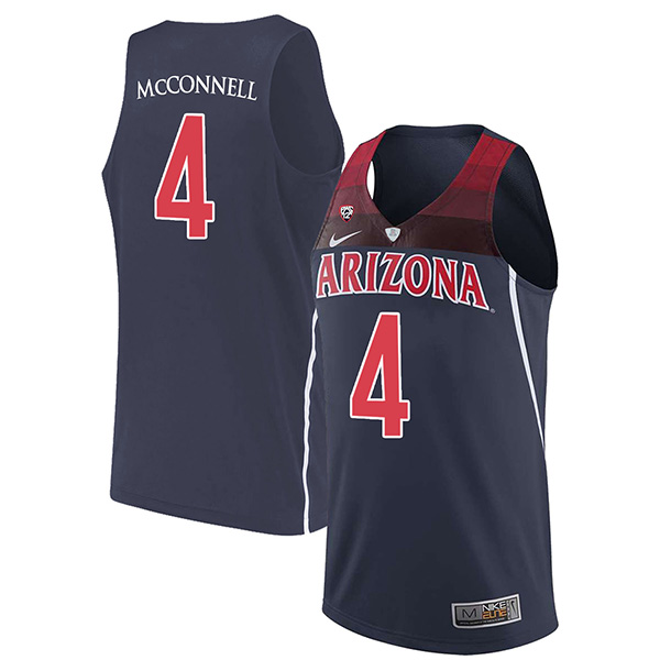 Men's Arizona Wildcats #4 T.J. McConnell Navy Blue Stitched NCAA College Basketball Jerseys