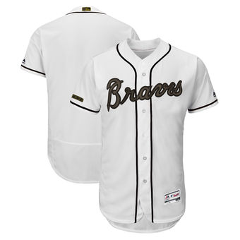 Men's Atlanta Braves Majestic White 2018 Memorial Day Authentic Collection Flex Base Team Custom Jersey