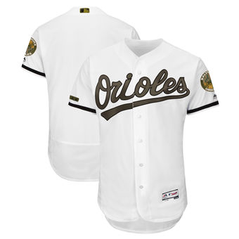Men's Baltimore Orioles Majestic White 2018 Memorial Day Authentic Collection Flex Base Team Custom Jersey