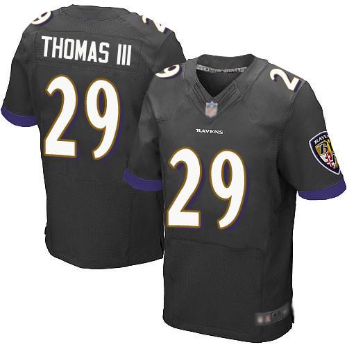 Men's Baltimore Ravens #29 Earl Thomas III Elite Black Football Jersey