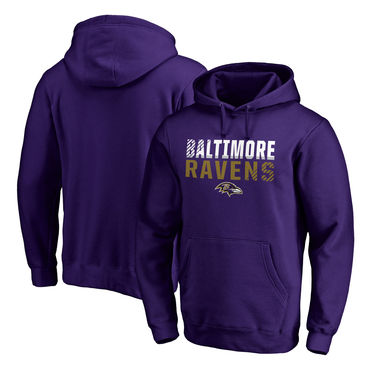 Men's Baltimore Ravens NFL Pro Line By Fanatics Branded Purple Iconic Collection Fade Out Pullover Hoodie