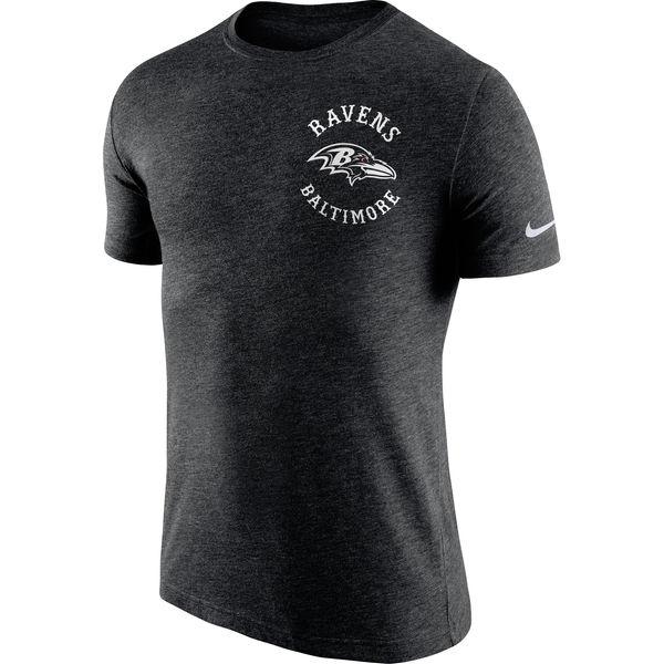 Men's Baltimore Ravens Nike Black Helmet Tri Blend T-Shirt