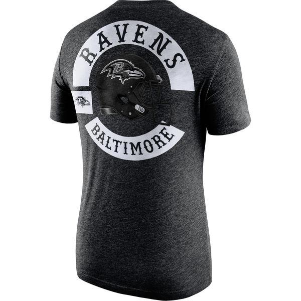 Men's Baltimore Ravens Nike Black Helmet Tri Blend T-Shirt2