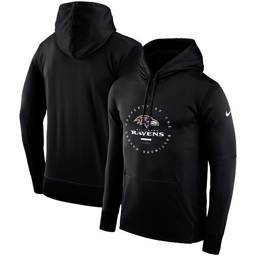 Men's Baltimore Ravens Nike Black Sideline Property Of Wordmark Logo Performance Pullover Hoodie
