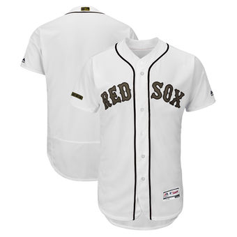 Men's Boston Red Sox Majestic White 2018 Memorial Day Authentic Collection Flex Base Team Custom Jersey