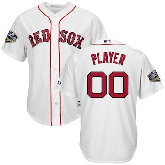Men's Boston Red Sox White 2018 World Series Cool Base Custom Jersey