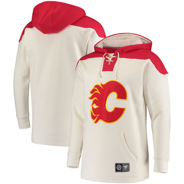 Men's Calgary Flames Fanatics Branded White Red Breakaway Lace Up Hoodie
