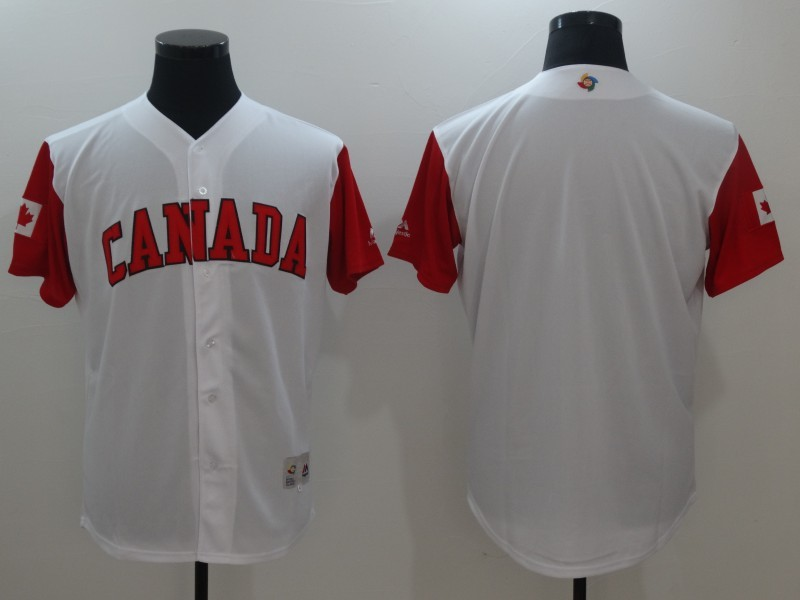 Men's Canada Baseball Majestic White Blank 2017 World Baseball Classic Team Jersey