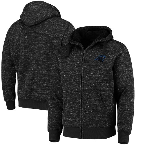 Men's Carolina Panthers G-III Sports by Carl Banks Heathered Black Discovery Sherpa Full-Zip Jacket
