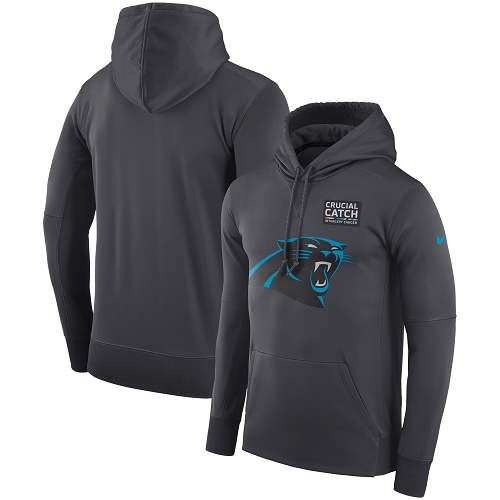 Men's Carolina Panthers Nike Anthracite Crucial Catch Performance Pullover Hoodie