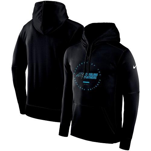 Men's Carolina Panthers Nike Black Sideline Property Of Wordmark Logo Performance Pullover Hoodie