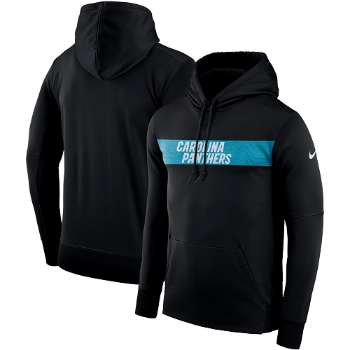 Men's Carolina Panthers Nike Black Sideline Team Performance Pullover Hoodie