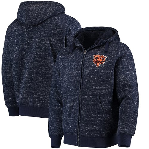 Men's Chicago Bears G-III Sports by Carl Banks Heathered Navy Discovery Sherpa Full-Zip Jacket