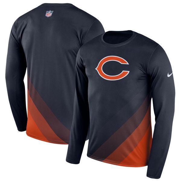 Men's Chicago Bears Nike Navy Sideline Legend Prism Performance Long Sleeve T-Shirt