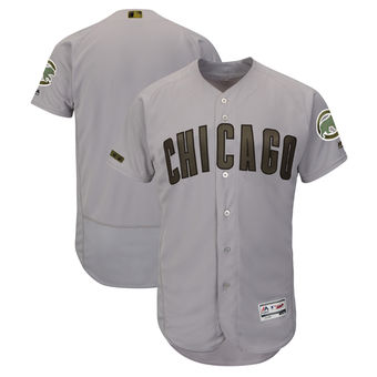Men's Chicago Cubs Majestic Gray 2018 Memorial Day Authentic Collection Flex Base Team Custom Jersey