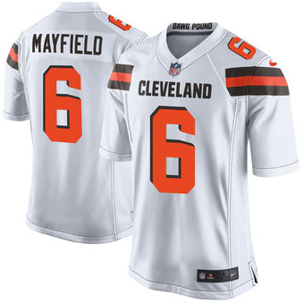Men's Cleveland Browns Baker Mayfield Nike White 2018 NFL Draft Pick Limited Jersey