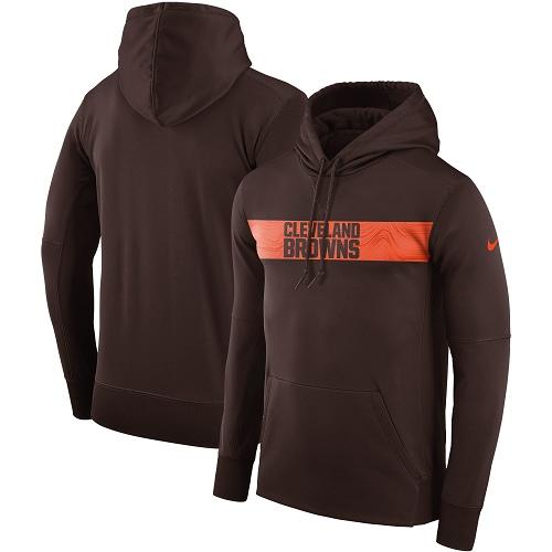 Men's Cleveland Browns Nike Brown Sideline Team Performance Pullover Hoodie