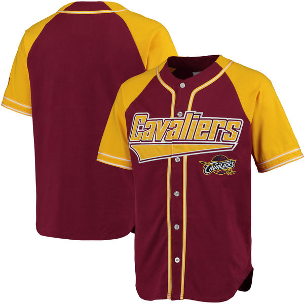 Men's Cleveland Cavaliers Blank Starter Burgundy Gold Baseball Jersey
