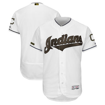 Men's Cleveland Indians Majestic White 2018 Memorial Day Authentic Collection Flex Base Team Custom Jersey