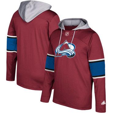 Men's Colorado Avalanche Adidas Maroon Silver Jersey Pullover Hoodie