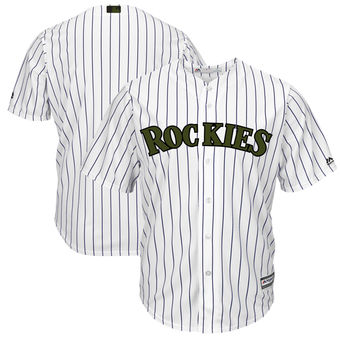 Men's Colorado Rockies Majestic White 2018 Memorial Day Cool Base Team Custom Jersey