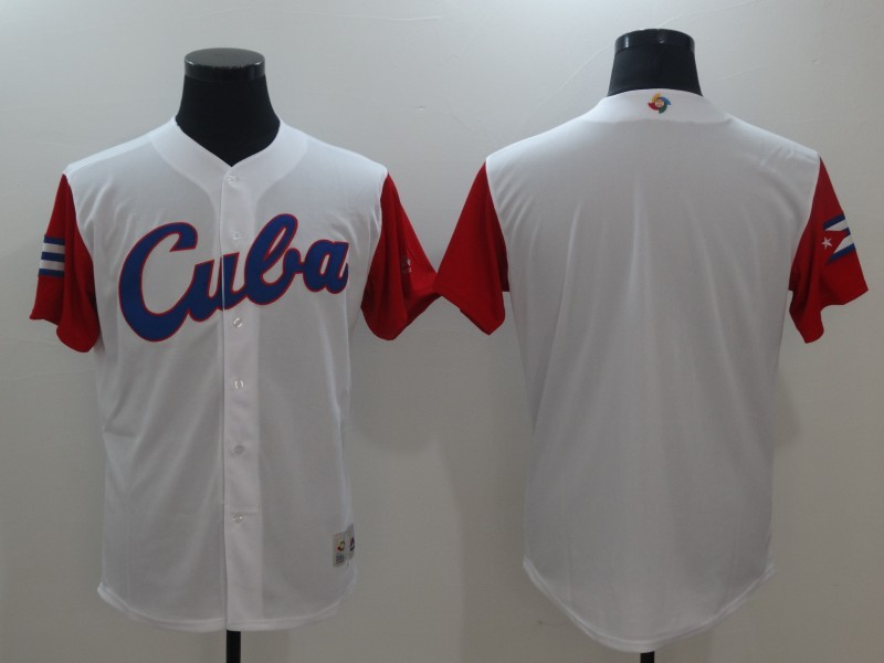 Men's Cuba Baseball Majestic White Blank 2017 World Baseball Classic Team Jersey