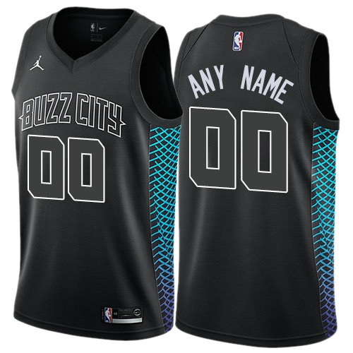 Men's Customized Nike Jordan Charlotte Hornets City Edition Authentic Men's Black NBA Jersey