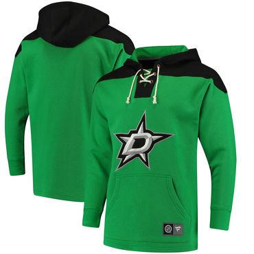 Men's Dallas Stars Fanatics Branded Green Black Breakaway Lace Up Hoodie