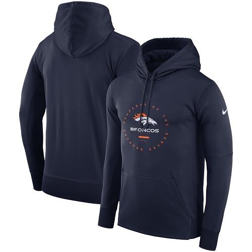 Men's Denver Broncos Nike Navy Sideline Property Of Wordmark Logo Performance Pullover Hoodie